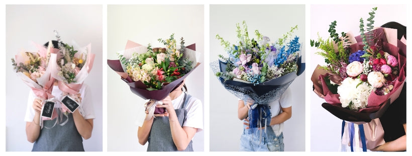 Size guide for hand-tied flower bouquets in singapore for floral mikelle