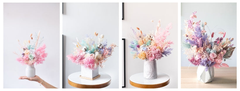 Floral Mikelle flower vase arrangement size guide