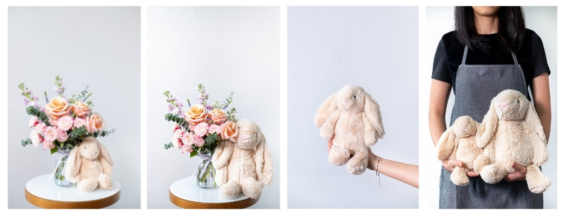 Rabbit teddy bear size guide by floral mikelle perfect new born gifting plushie