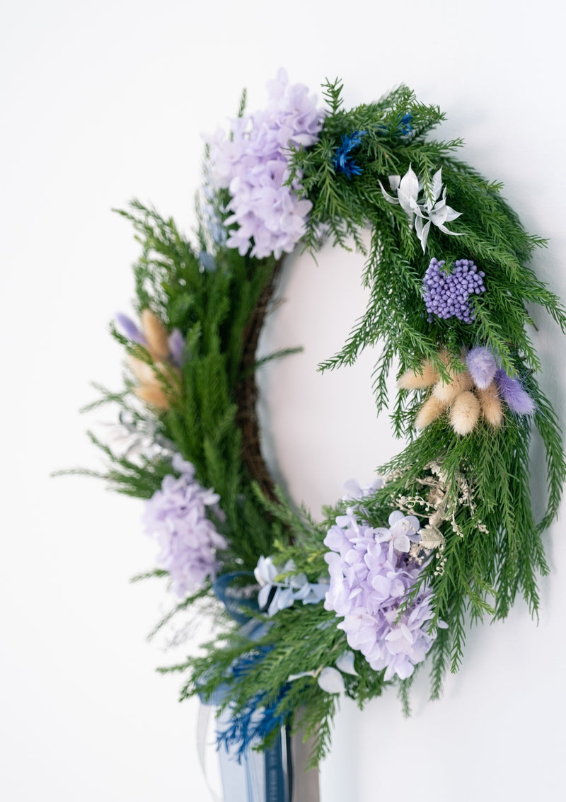 Free delivery for christmas wreath designed and curated with fresh christmas leaves and preserved flowers