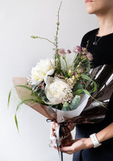 Fresh white cream peonies elegant bouquet designed by singapore florist floral mikelle