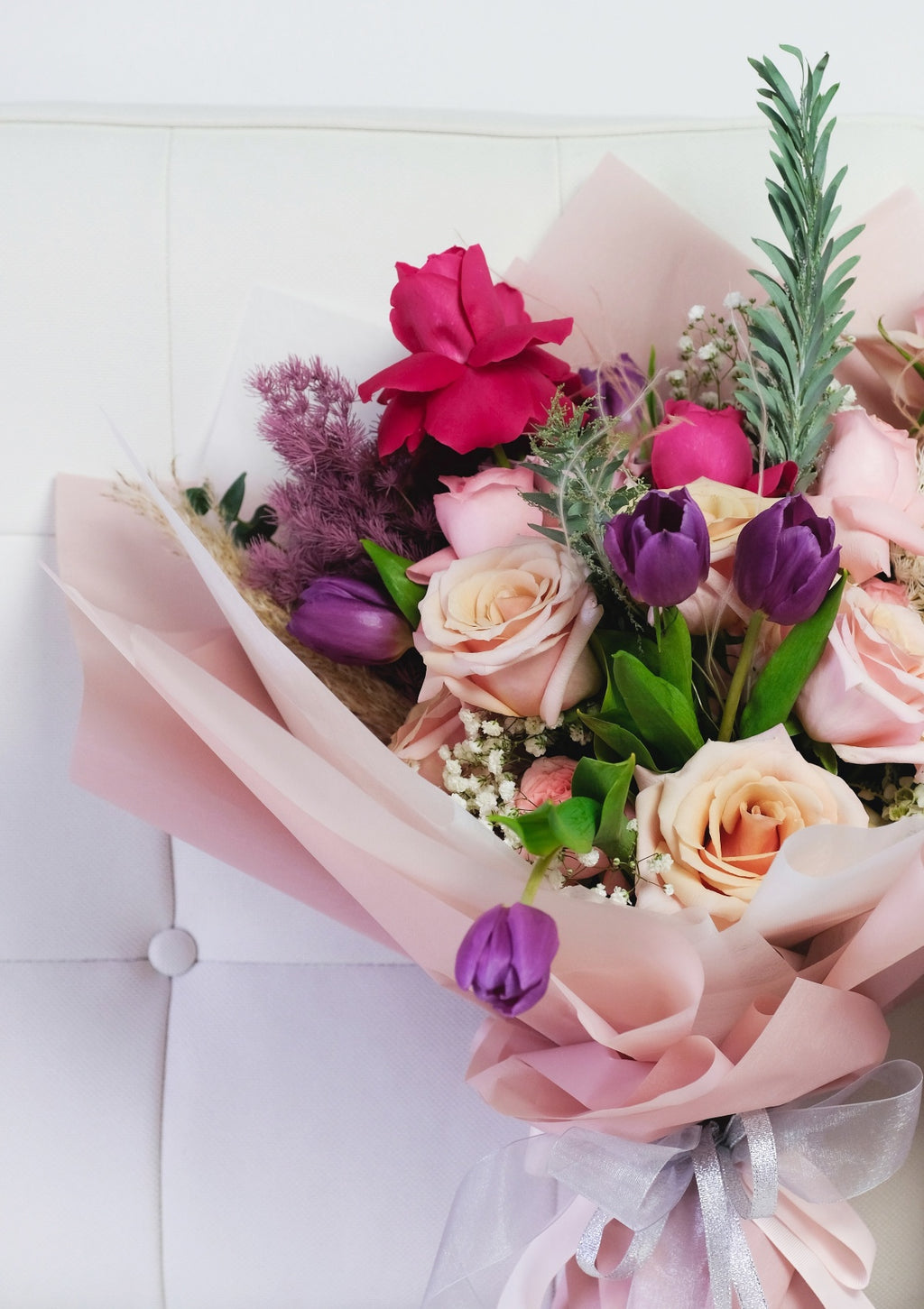 Customised pink and purple romantic flower bouquet for weddings anniversary and birthday flowers floral design by singapore best florist floral mikelle