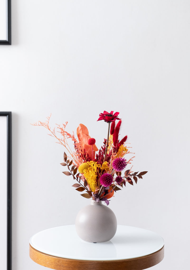 Autumn inspired colors preserved flower arrangement in singapore designed by best bespoke florist
