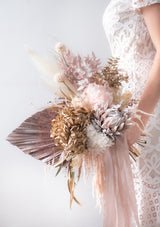 Preserved flowers and air dried blooms customised in a wedding bouquet bridal handbouquet for all brides in singapore