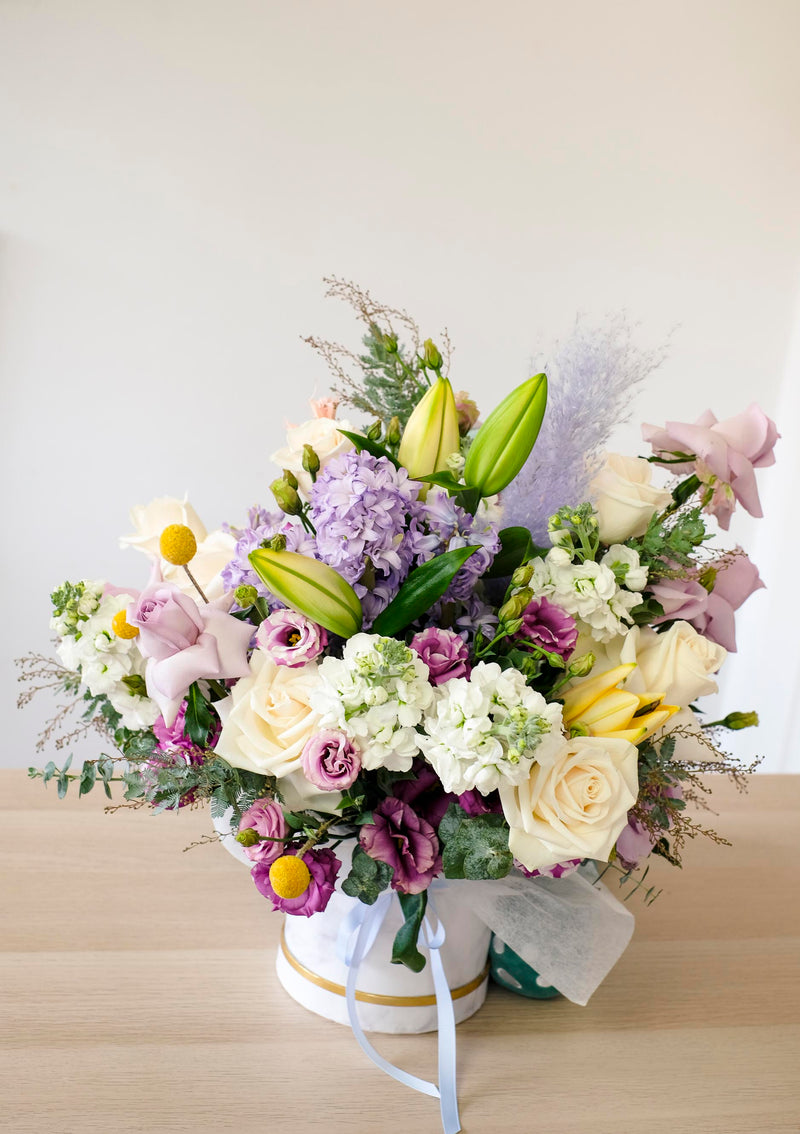 Customised flowers with a get well soon cheerful floral boxes with free island wide delivery by top florist singapore