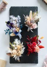 Family, groom mens and bridesmaid preserved flower petite boutonnieres for all weddings and wedding shoots