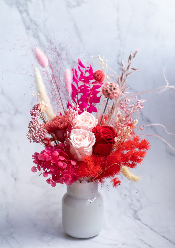 Luxurious and generous grand red preserved flower arrangement in singapore with free delivery for mothers day flowers
