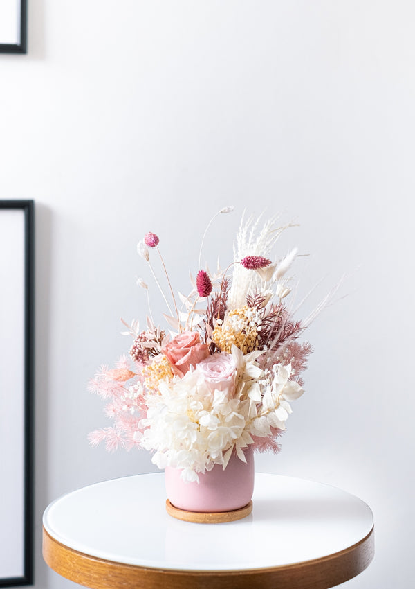 Dusty pink palette creation filled of premium preserved flowers in a vase arrangement designed by singapore top florist floral mikelle