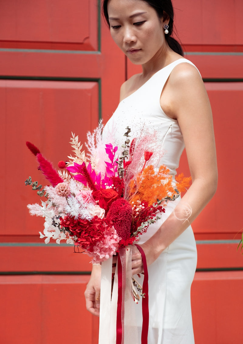 Luxe and elegant red palette preserved flowers for brides in singapore