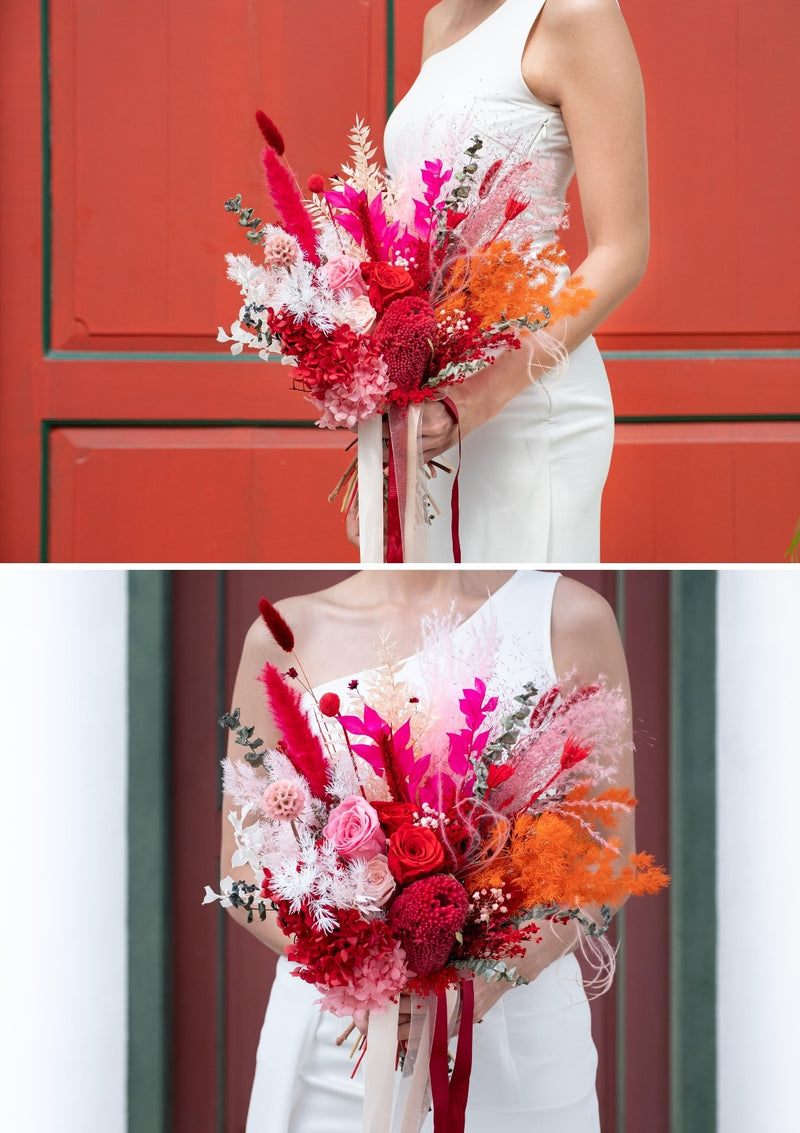 Red oranges and pink preserved bridal bouquet finished with cotton satin ribbons designed by singapore florist