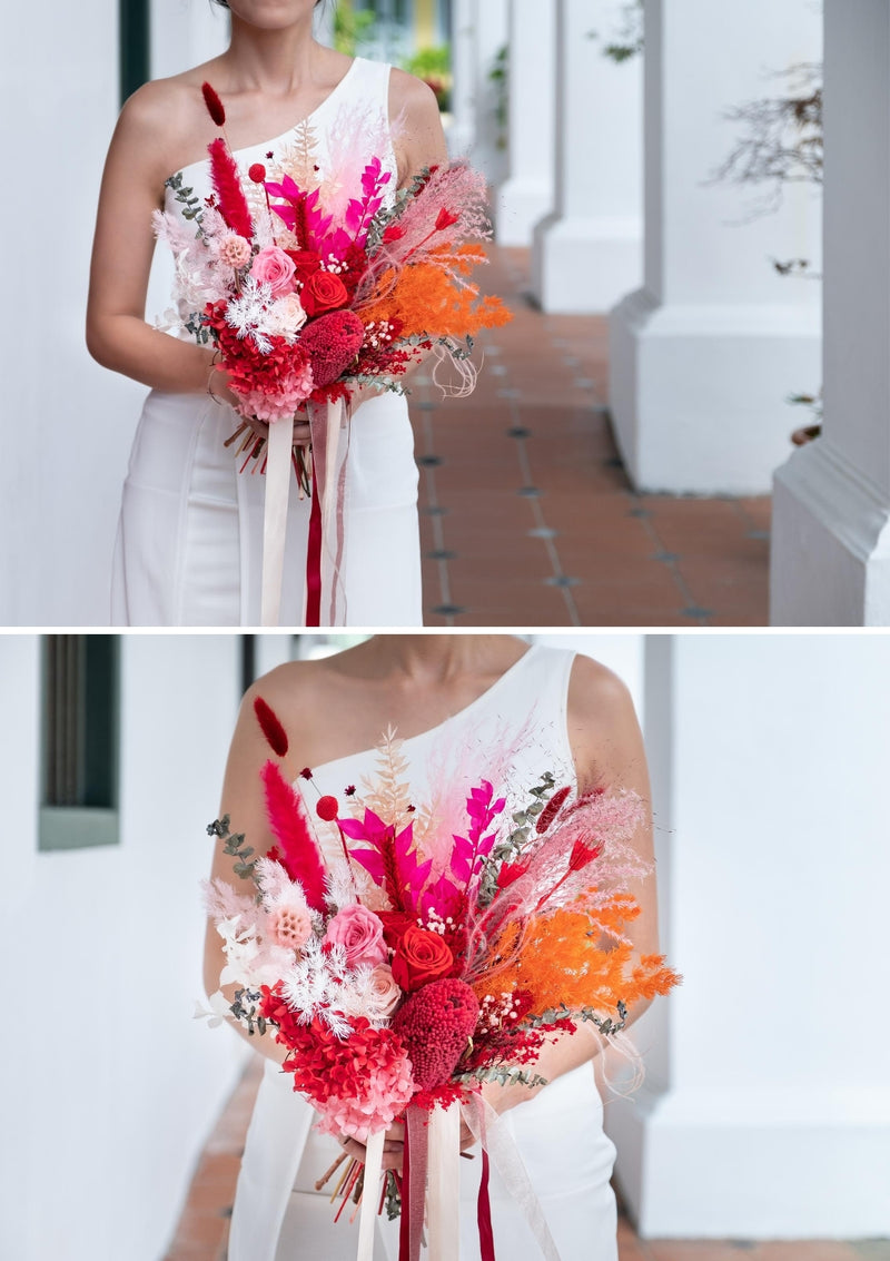 Perfect everlasting bridal flowers and groom boutonnieres set in singapore with free delivery
