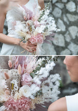 Sweet and demure dusty pink wedding color palette preserved flowers bridal bouquet in singapore