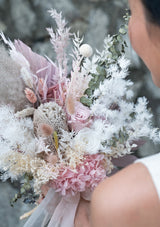 Romantic and sweet palette for all brides in singapore designed consisting of premium preserved flowers and dried imported flowers in singapore