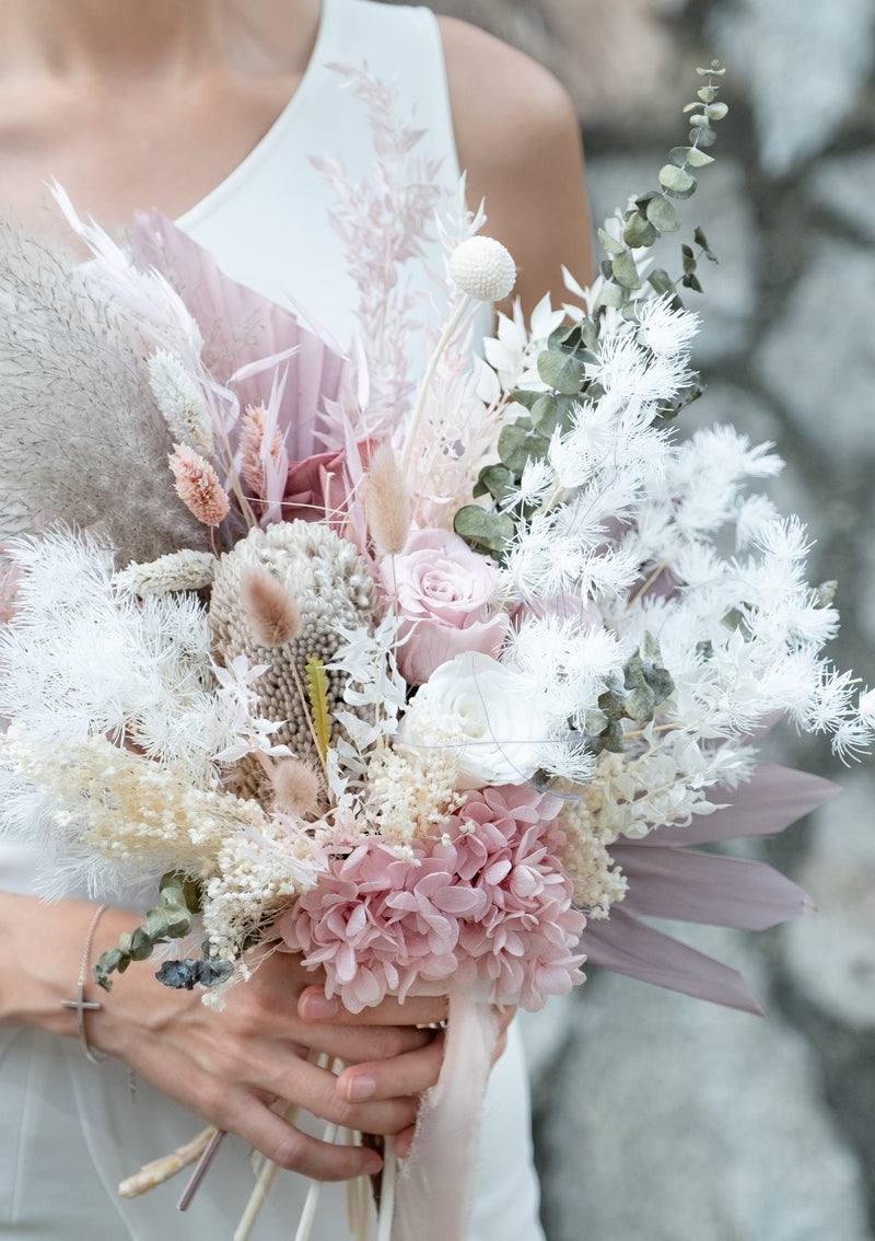 Dusty pink with whites creams and grey preserved bridal bouquet value for money