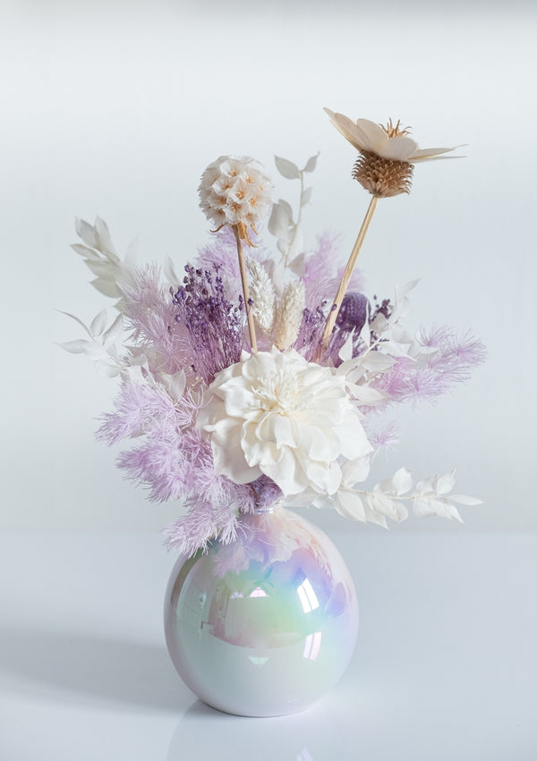 Array of lilacs and whites preserved flower and sola flower imported by singapore florist floral mikelle