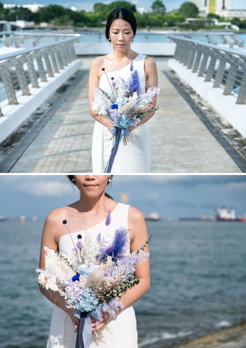 Everlasting preserved flowers bridal bouquet in Singapore designed in a blue white and green wedding palette