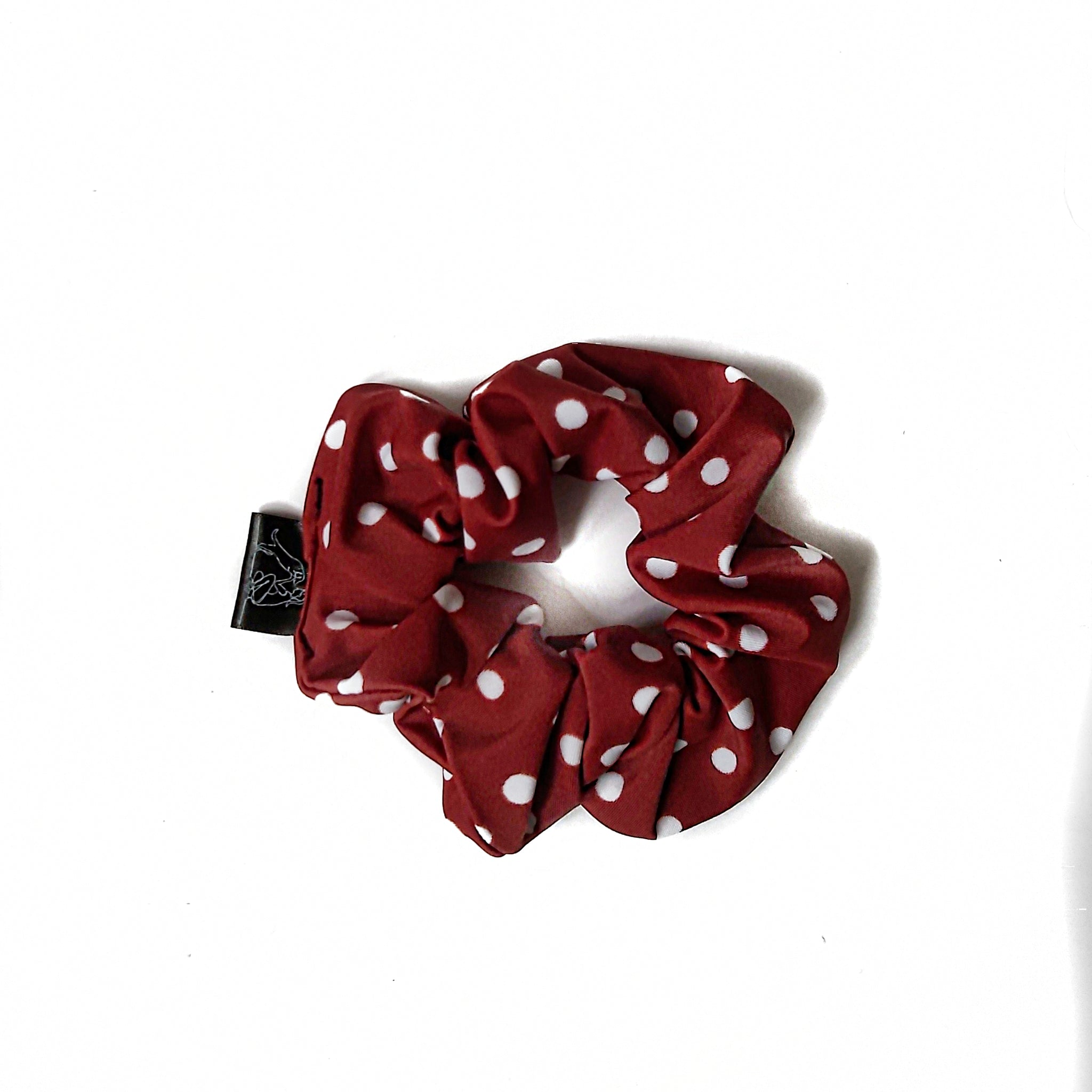 Burgandy with Polka Dots Scrunchie