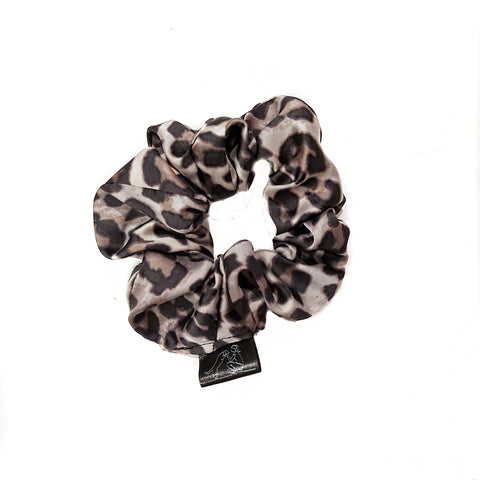 Grey Silk Cheetah Print Scrunchie