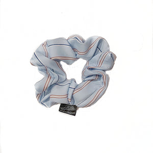 Blue Silk with Stripes Scrunchie
