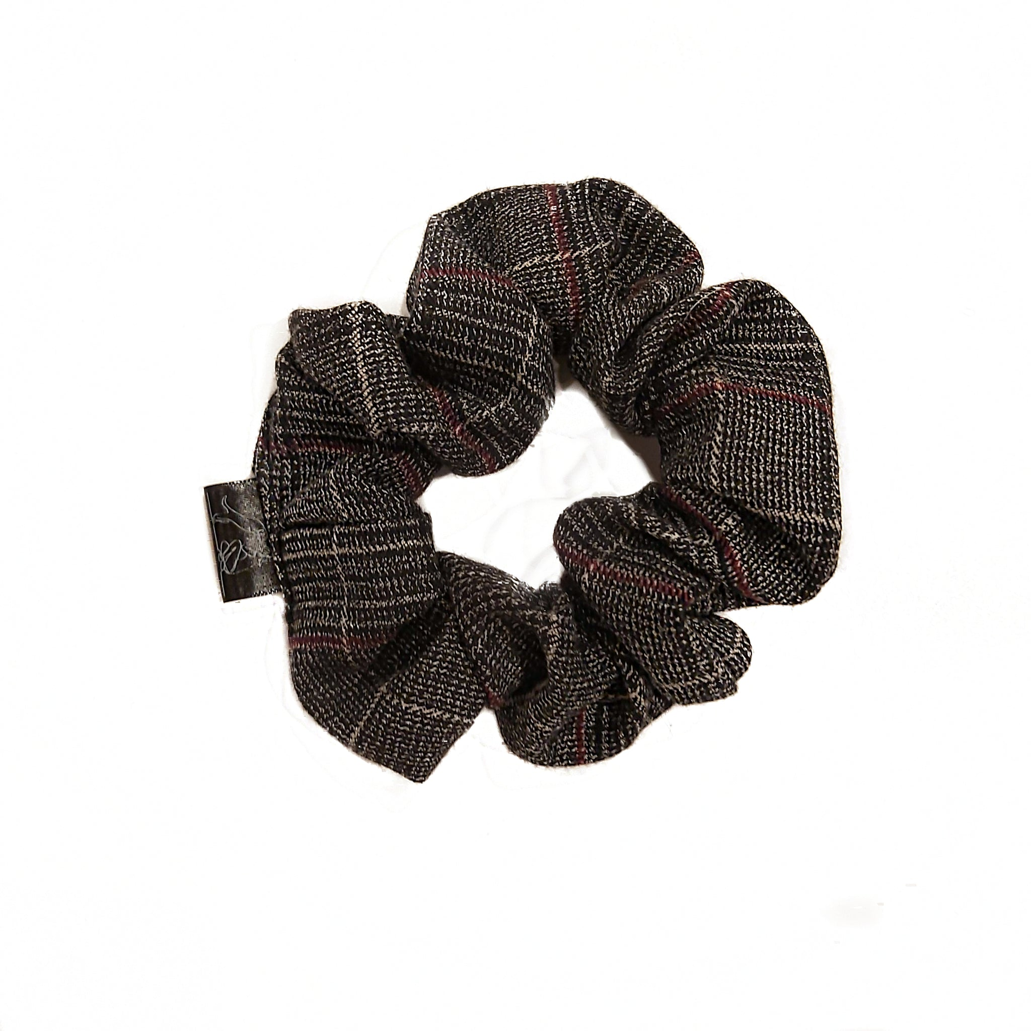 Grey Plaid Scrunchie