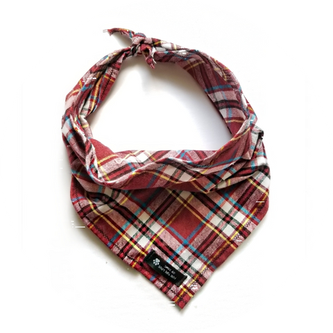 Burgundy, Black and White Plaid Bandana