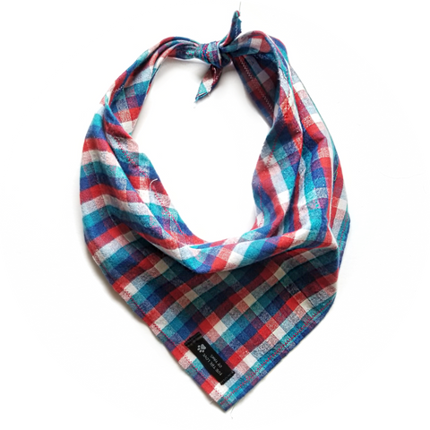 Blue, Red and White Checker Bandana