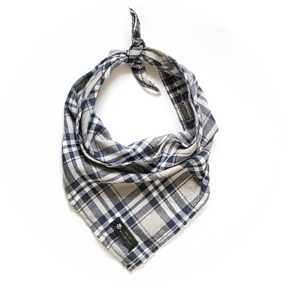 Grey and Navy Plaid Bandana