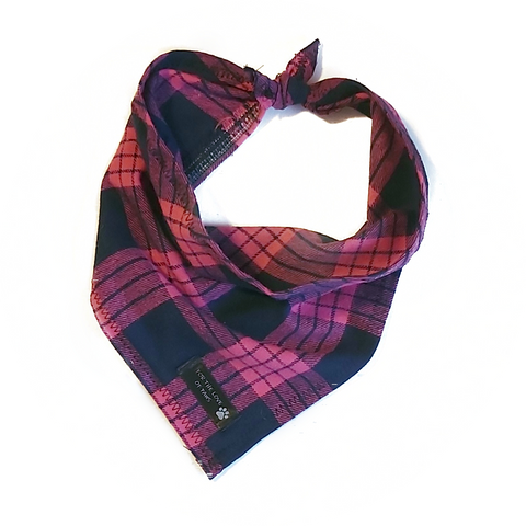 Pink and Navy Plaid Bandana