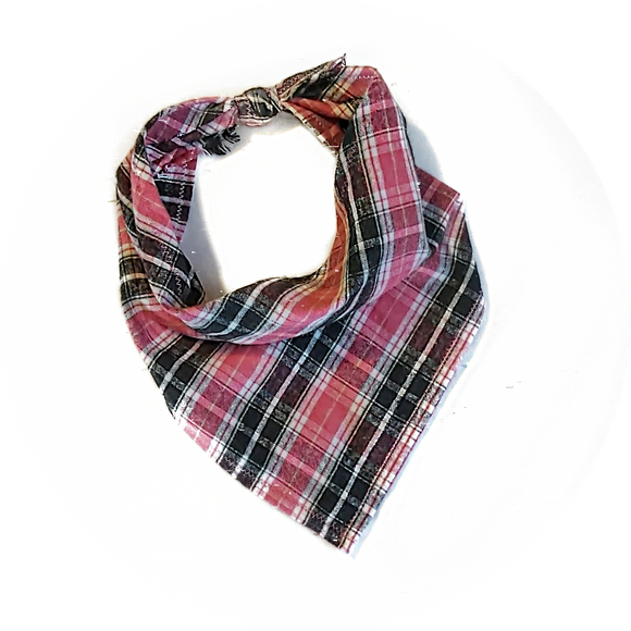 Pink, Black and White Plaid Bandana
