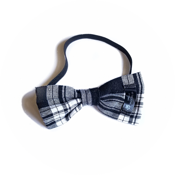 Black and White Plaid Bow Tie