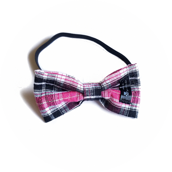 Pink, Black and White Plaid Bow Tie
