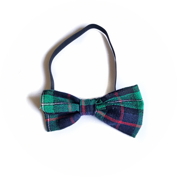 Green, Red, Black and White Plaid Bow Tie