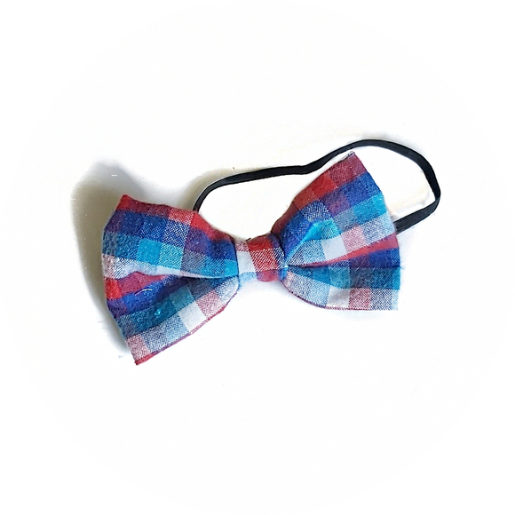 Blue, Red and White Checker Bow Tie