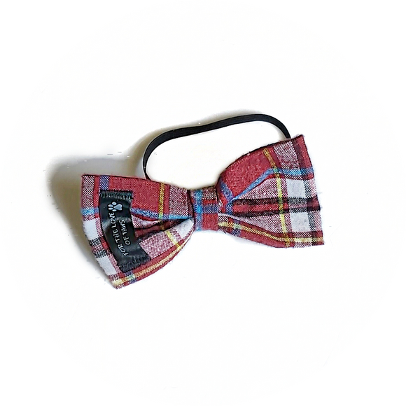 Burgundy, Black and White Plaid Bow Tie