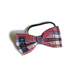 Burgundy, Black and White Plaid Bowtie