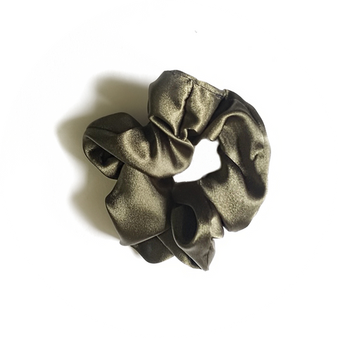 Green Silk Scrunchie