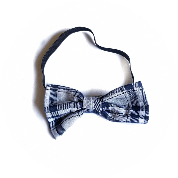 Grey and Navy Plaid Bow Tie