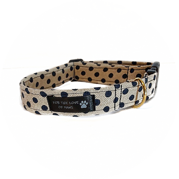 Tan and Navy Polka Dot Collar