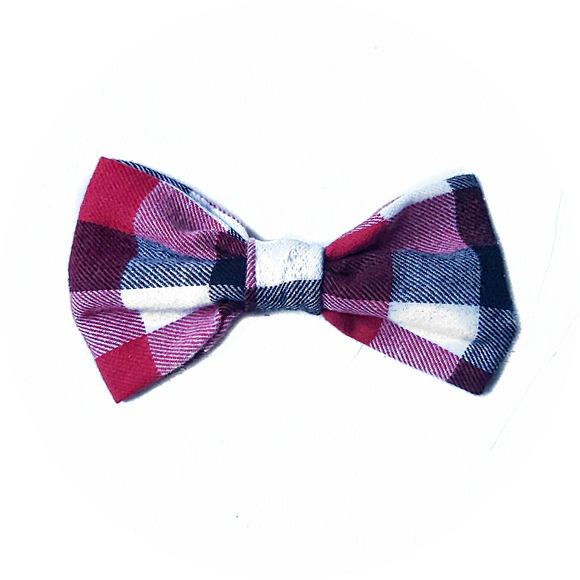 Red, Blue and White Checker Bow Tie