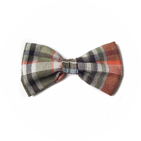 Green and Orange Plaid Bow Tie