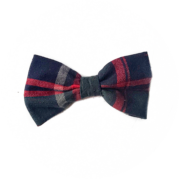 Green, Navy and Red Plaid Bowtie