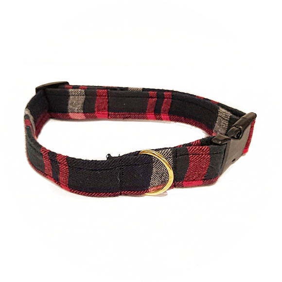 Green, Navy and Red Plaid Collar