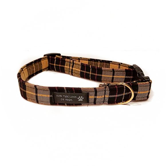 Mustard Yellow and Black Plaid Collar