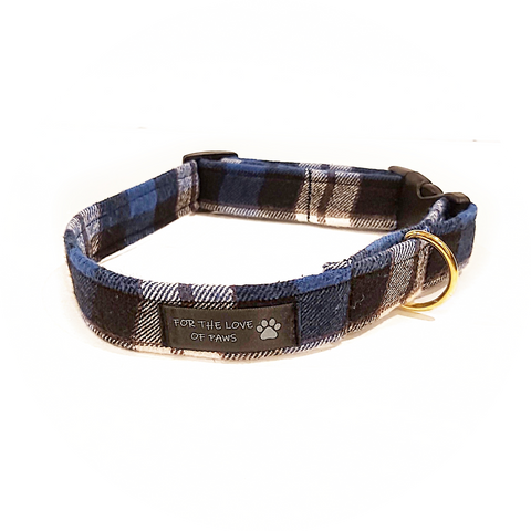 Royal Blue and Black Plaid Collar