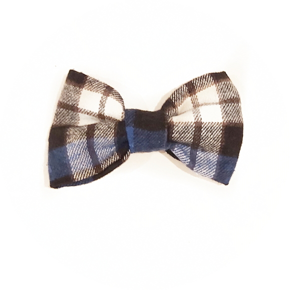 Royal Blue and Black Plaid Bow Tie