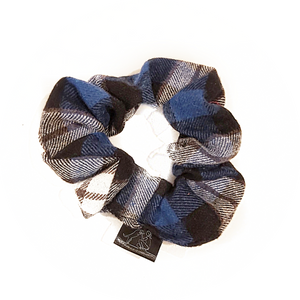 Royal Blue and Black Plaid Scrunchie