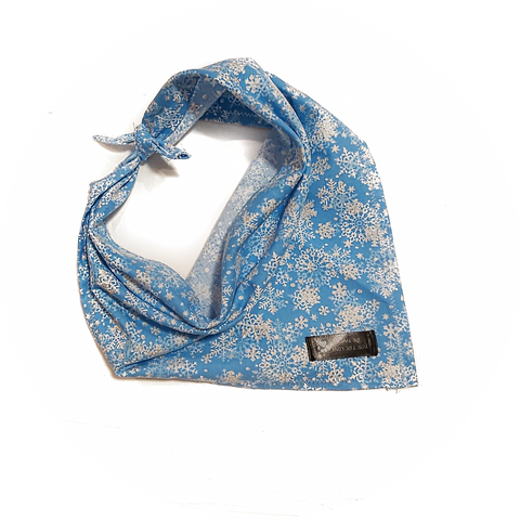Blue with White Snow Flake Bandana