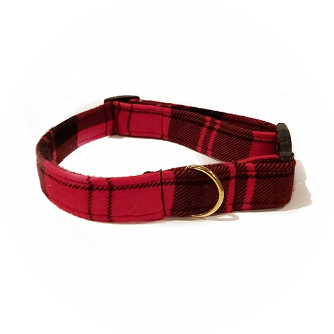 New Red and Black Plaid Collar