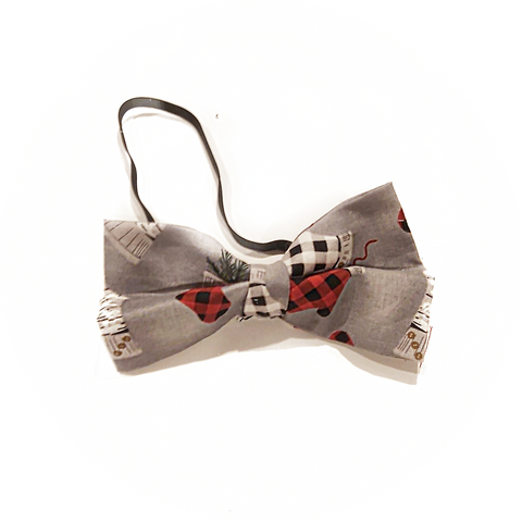 Grey with Red Stockings Bow Tie