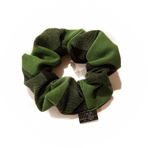 Green and Black Plaid Scrunchie